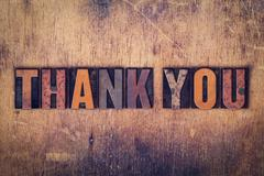 Thank You Concept Wooden Letterpress Type - stock photo