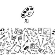Artist tools sketch hand drawn horizontal banner - stock illustration