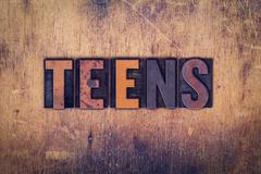 Stock Photo of Teens Concept Wooden Letterpress Type