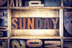 Sunday Concept Letterpress Type Stock Photos