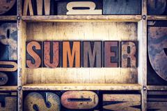 Summer Concept Letterpress Type - stock photo