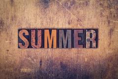 Summer Concept Wooden Letterpress Type Stock Photos