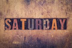 Saturday Concept Wooden Letterpress Type Stock Photos