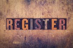 Register Concept Wooden Letterpress Type - stock photo