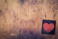 Single Heart Wooden Letterpress Type Stock Photos