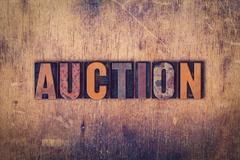 Auction Concept Wooden Letterpress Type - stock photo