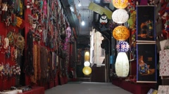 The alleyway with lanterns and souvenirs - stock footage