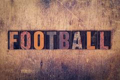 Football Concept Wooden Letterpress Type - stock photo