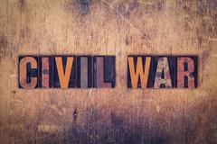 Civil War Concept Wooden Letterpress Type Stock Photos