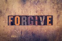 Forgive Concept Wooden Letterpress Type Stock Photos