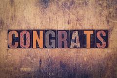 Stock Photo of Congrats Concept Wooden Letterpress Type