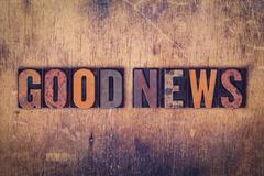 Good News Concept Wooden Letterpress Type Stock Photos