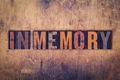 In Memory Concept Wooden Letterpress Type Kuvituskuvat