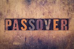 Passover Concept Wooden Letterpress Type - stock photo