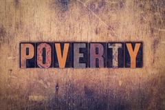 Poverty Concept Wooden Letterpress Type Stock Photos
