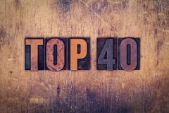 Top 40 Concept Wooden Letterpress Type - stock photo