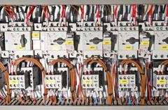 Electrical panel with automation - stock photo