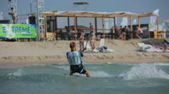 Person Go Kitesurfing before The Competition Stock Footage