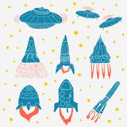 Set of hand drawn rockets. Space shuttle. UFO Piirros