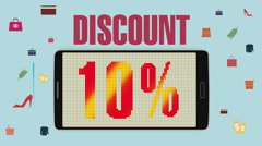 Promotion of Sale, Discount 10%, effective sale alarm. Stock Footage