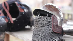 Stock Video Footage of Rainy day at medieval military camp, knight's armour suit ready for final battle