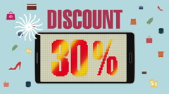 Promotion of Sale, Discount 30%, effective sale alarm. - stock footage
