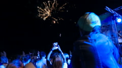 People Watching Fireworks on the beach Stock Footage
