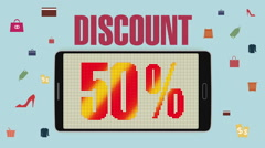Promotion of Sale, Discount 50%, effective sale alarm. - stock footage