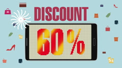 Promotion of Sale, Discount 60%, effective sale alarm. - stock footage