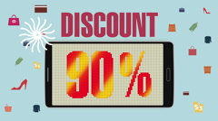 Promotion of Sale, Discount 90%, effective sale alarm. Stock Footage