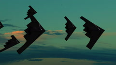 Stealth bombers in formation twilight clouds Stock Footage