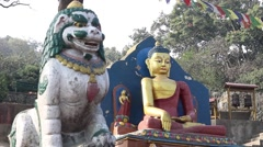 Buddha statue with a lion. Slider/dolly movement Stock Footage