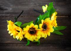 wreath of artificial flowers - stock photo