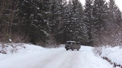 The car goes on the road in the mountains Stock Footage
