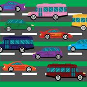 Road collapse and traffic jams background with lots of cars flat vector - stock illustration