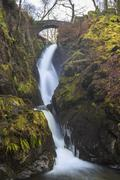 Aira Force waterfall in winter, near Dockray, Lake District National Park, - stock photo