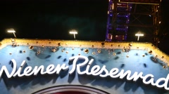 Stock Video Footage of Prater wheel at night - Wiener Riesenrad ,Vienna - Detail