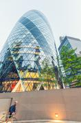 LONDON - MAY 11, 2015: London City business district. The City is a major bus Stock Photos