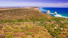 Aerial view of Twelve Apostles coastline, Australia Stock Photos