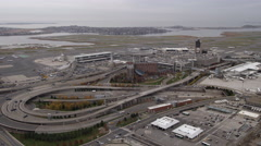 Flying toward Boston's Logan Airport. Shot in 2011. Stock Footage