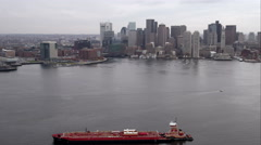 Approaching Boston from the harbor. Shot in November 2011. Stock Footage