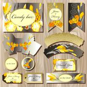 Candy bar wedding design set with iris flowers. - stock illustration