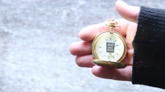 Here and Now, Time concept. Text and pocket watch - stock footage