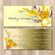 Stock Illustration of Wedding card with yellow iris bouquet background.