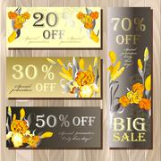 Stock Illustration of Big sale printable card template with iris flowers