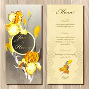 Iris flower wedding menu card. Vector illustration - stock illustration