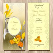 Wedding card with yellow iris bouquet background. - stock illustration