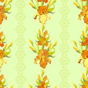 Yellow iris flower seamless pattern background. Stock Illustration