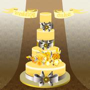Wedding cake with yellow iris flower design. Stock Illustration