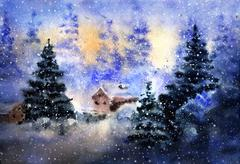 Aquarelle drawing of winter country landscape - stock illustration